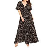 ReooLy Fashion Women Sexy Plus Size Leopard Print Vestido de Manga Corta con Cuello en V(Negro,XL)