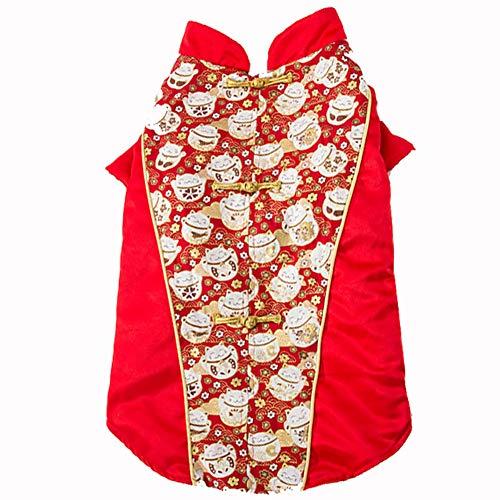 DishyKooker Husky-Kostüm für Hunde, warmer Wintermantel, Glückskatze, Neujahr, chinesische Tang-Dynastie, rot, XXX-Large