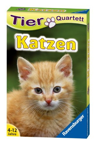 Preisvergleich Produktbild Ravensburger 20421 - Tierquartett Katzen,  Klassiker für 3-6 Spieler ab 4 - 12 Jahre