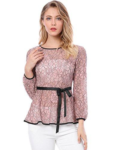 Allegra K Donne Camicia Rotondo Laccetti Manica Lunga Cintura Contrasto Bicolore Peplo Pizzo Top Rosa L