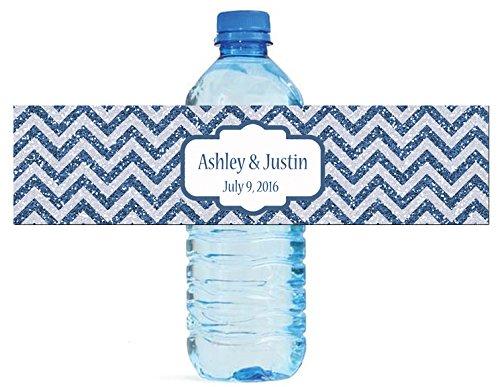 "100 Chevron Blue glitter Background Wedding Water Bottle Labels Engagement Party 8""x2"""