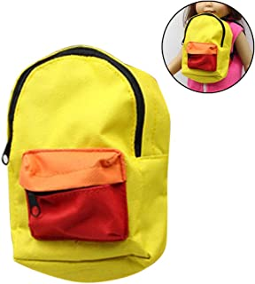 COAFIT Doll Backpack Cute Color Patchwork Mini Doll School Bag for 18'' Dolls