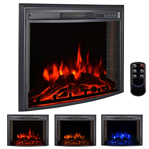 bigzzia 26' Curved Screen Insert Electric Fireplace, 750W-1500W Electric Stove Heater with Adjustable Time Setting, Dimmer, Heater, Temperature & Remote Control for Home Use (26 Inch)