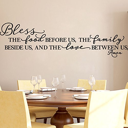 Kitchen Wall Stickers Home Decor, Dining & Cooking Quote Decal Heart Removable Vinyl Art Decoration ״Bless The Food Before Us, The Family Beside Us, and The Love Between Us, Amen״ (Black)