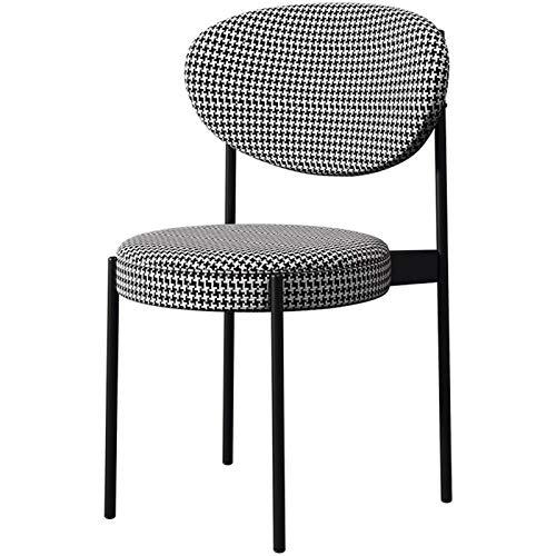WHOJA Esszimmerstühle Mit Rückenlehne Esstisch und Stühle in der Küche Stoffkissen Hauptstudienstuhl Metallrahmen Tragend 150kg 41 x 50 x 83 cm Eckstühle (Color : Black)