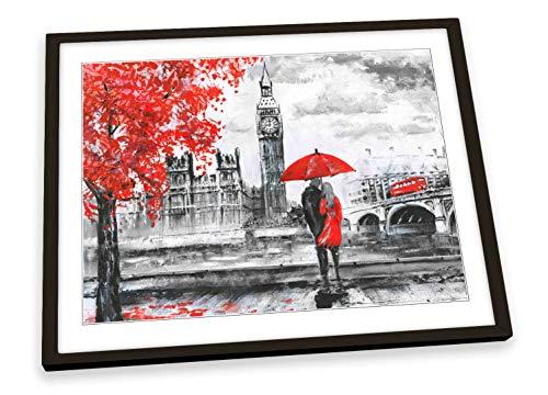 Canvas Geeks Big Ben London Paraguas rojo enmarcado artístico impreso artístico – Marco negro – Tamaño A3