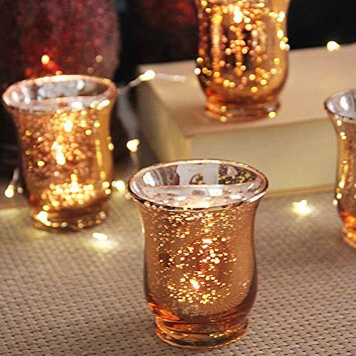 XRRRO Golden speckled glass wind lamp candle holder romantic home bar decoration 12-piece set-12-piece silver lantern set