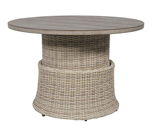 lifestyle4living Runder Loungetisch aus Rattan ist höhenverstellbar, Gartentisch ist beige und wetterfest, der Rattantisch ist ideal für Ihre Terasse oder Ihren Balkon