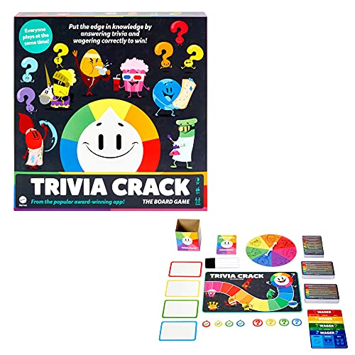 Trivia Crack The Board Game Based on the Popular Trivia Hits with Single & Multiple Answer Question Cards, 1840+ Questions, Dry Erase Boards, Markers, Wager Tokens & Powerup Cards