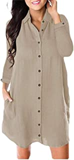 Howely Women's Button Down Mid Long Casual Long-Sleeve Solid Blouse Shirts