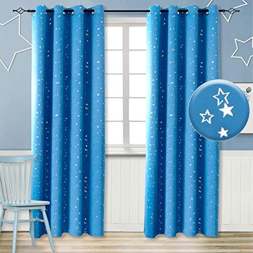 Vorhänge Blickdicht Sterne mit Ösen Gardine Thermo isoliert für Baby, Kinderzimmer,Blau Verdunkelungsvorhänge 1 Paar (H 245 X B 140cm,Blau)