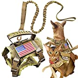 Tactical Cat Harness and Leash for Walking Escape Proof, Adjustable Military K9 Pet Vest Harness Easy Control for Large Cat, Puppy and Small Dog (Coyote Brown)