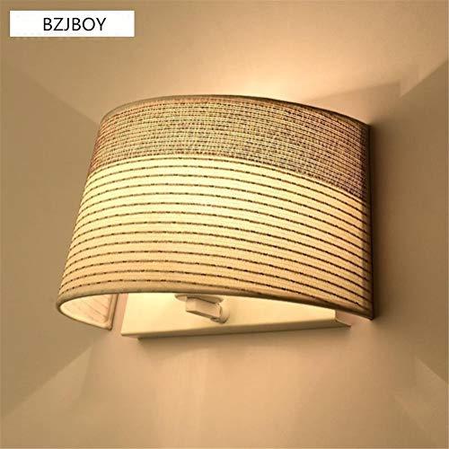YLCJ Wandlamp, moderne leeslamp, E27, bedlampje en stoffen lampenkap met metalen frame, voor woonkamer, slaapkamer, hotel, wandoppervlak, wandlampen