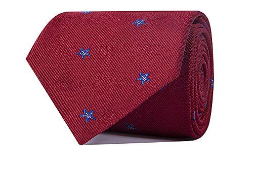 Sologemelos - Cravate Étoile - Rouge 100% soie naturelle - Hommes - Taille Unique - Confection artesanale Made In Italy