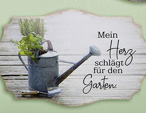 Rostalgie Metall Schild Kräutergarten 30x19cm Wandschild Gartendekoration Tafel - 1 STÜCK (Metall, Mein Herz schlägt für den Garten)