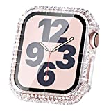 Surace Compatible with Apple Watch Case 44mm for Apple Watch Series 6/5/4/3/2/1, Bling Cases with Over 200 Crystal Diamond Protective Cover Bumper for 38mm 40mm 42mm 44mm, Clear