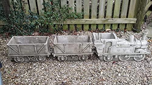 Stone Concrete Train & Carriage Planter丨Garden Decor-Cart Garden Ornament-Statues & Sculptures Online Large Garden Ornaments (B)