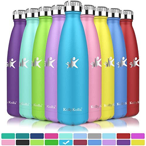 KollyKolla Vakuum Isolierte Edelstahl Trinkflasche, 500ml BPA Frei Wasserflasche Auslaufsicher, Thermosflasche für Kinder, Schule, Mädchen, Sport, Outdoor, Fahrrad, Büro, Fitness (Voll Himmelblau)