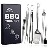 Heavy Duty BBQ Grilling Tool Sets, Extra Thick Stainless Steel Spatula, Tongs, Fork, Basting Brush, Knife and Skewers, Gift Box Package, Best for Barbecue & Grill, 7 Pack Utensils Accessories