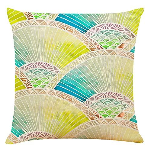 Bccowdwzfc Kuddöverdrag fläkt 45 x 45 cm dekorativa kuddöverdrag fyrkantigt örngott för soffa, vardagsrum, soffa, säng, paket med 2