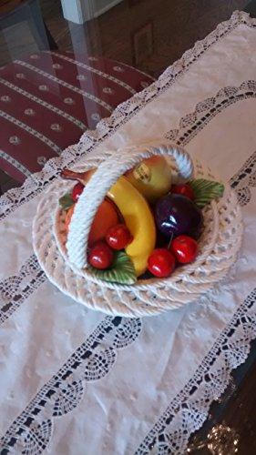 CAPODIMONTE Authentic Italian Round Mini-Mix Fruit Display Basket, Multicolor
