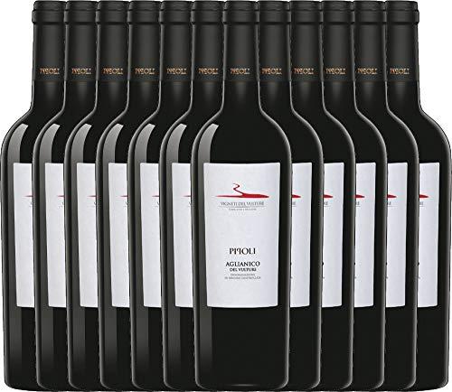 VINELLO 12er Weinpaket Rotwein - Pipoli Aglianico del Vulture DOC 2018 - Vigneti del Vulture mit Weinausgießer | trockener Rotwein | italienischer Rotwein aus Basilikata | 12 x 0,75 Liter