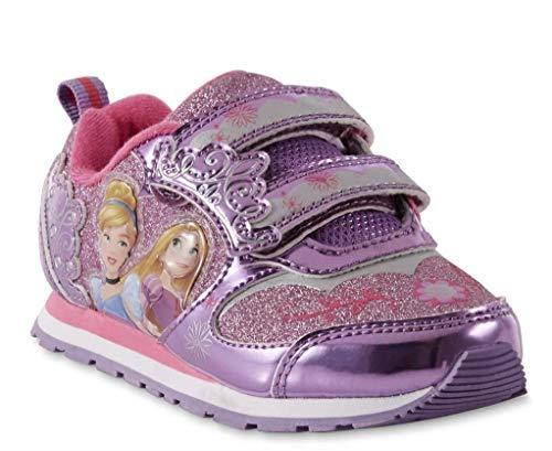 Disney Toddler Girls Princess Pink and Purple Light-Up Sneakers (12 Toddler Girls US M)
