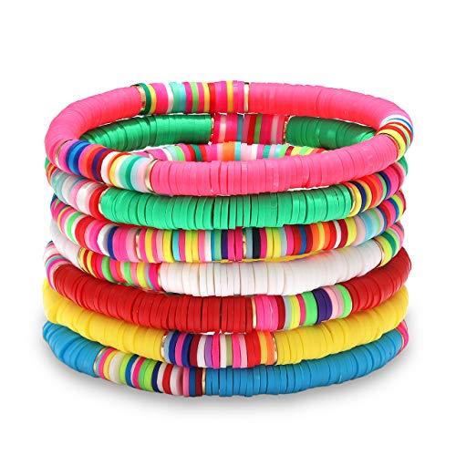 Boderier Heishi Bracelets Colorful African Vinyl Disc Bead Stretch Bracelet Summer Beach Surfer Bracelets Set (7)