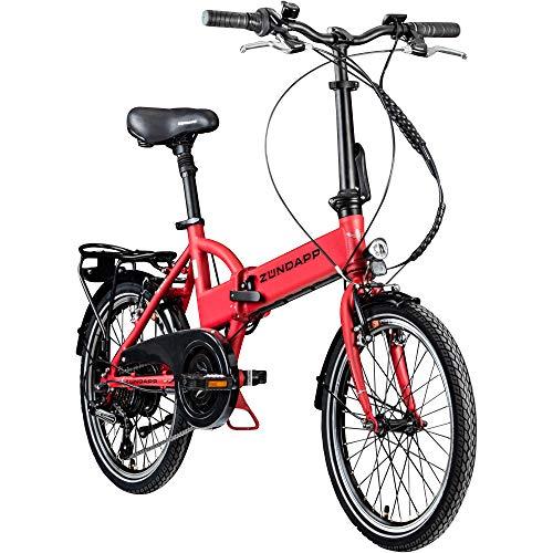 Zündapp Faltrad E-Bike 20 Zoll Z101 Klapprad Pedelec StVZO Elektrofaltrad 6 Gang (Gambia rot)