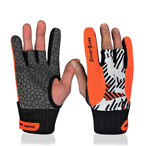 Professional Anti-Skid Bowling Gloves Comfortable Bowling Accessories Semi-Finger Instruments Sports Gloves Mittens for Bowling (Orange, L)