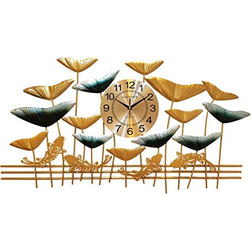 WLXJDJ Reloj de Pared Decorativo Moderno, Reloj Decorativo de Reloj de Lotus Silent 3D Grande para Dormitorio Reloj de Pared de Sala de Estar