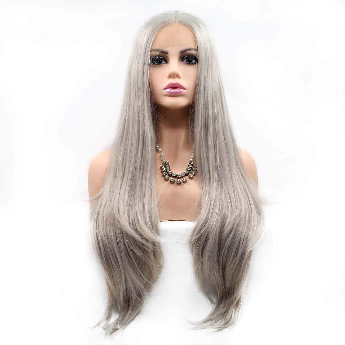 何かピンポイントキャプチャーZXF 長い髪の高温シルク ローズイントラネットの女性のかつらのフロントレースグレー 美しい