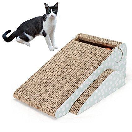Cuscinetto tira-graffi in cartone, giocattolo per cuccioli con campanellino per gatti