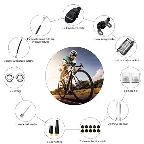 24 PCS Bike Repair Tool Kit Set,Bike Servicing Emergency Tool Kit with Pump,Tire Puncture Kits 16 in 1 Multifunction Wrench Tool Patch,Bicycle Tyre Repair Tool Kit Saddle Bag for Road Mountain Bike