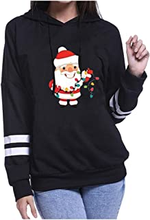 Muicook Christmas Print Womens Striped Long Sleeve Hooded Sweater Ladies Tops