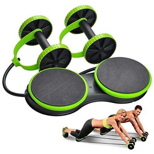 Upgrade Sport Core Doppel-AB-Roller, Trainingsgerät für Zuhause, Fitness, Bauchmuskeltraining, professionelles Taillenband, Bauch Trainer, mit 2 rotierenden Pads, ideal für Männer und Frauen, grün