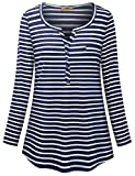 Miusey Plus Size Clothing for Women,Ladies Tunic Blouse Fashion Stripped Button Tee Shirts Henley V-neck Work Wear 3/4 Roll-up Sleeve Office Tops Blue Stripe XXL