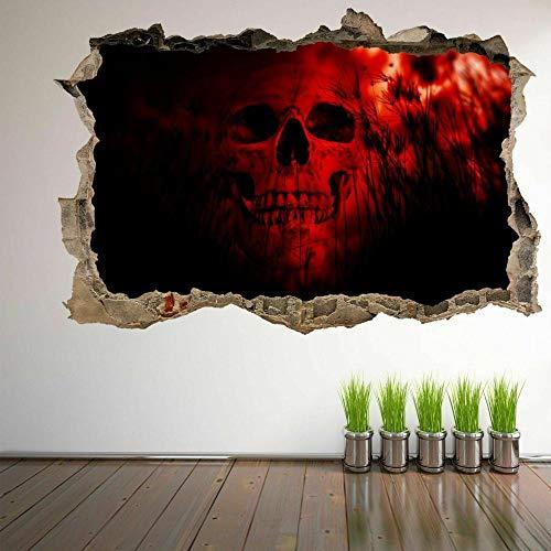 Pegatinas de pared Cráneo humano 3D Wall Art Sticker Mural Decal Poster Horror Fondo-70x100cm