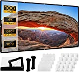 Pantalla Proyector VAABZZ 100 Pulgadas 16: 9 4K de Montaje en Pared/Portátil Pantalla de Proyector de Doble Cara Plegable, Lavable y Antiarrugas para Cine en Casa, Fiestas y Películas al Aire Libre