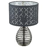 Tischlampe silber Schrim grau Nachtischlampen Schlafzimmer Schirmlampe Tisch grau, aus Keramik in chrom mit Samtschirm, 1x E27, DxH 25x38 cm