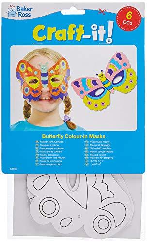 Baker Ross Masken zum Basteln und Ausmalen - Schmetterling - für Kinder ideal zum Kindergeburtstag und Karneval - 6 Stück