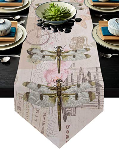 Infinidesign Vintage Animals Table Runner, Cotton Table Runners Dining Table Home Decorations for Indoor and Outdoor Gatherings 13x120inch Dragonfly Butterfly Stamp Background