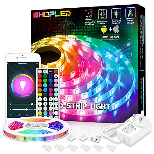 LED Strip Lights 5M Compatible with Alexa, SHOPLED RGB SMD 5050 Smart LED Lights App/44-Key RF Remote,Color Changing Music Sync led Lights for TV Ceiling Bedroom Kitchen Christmas Party DIY