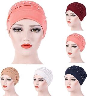 Nacome Women Cancer Chemo Ruffle Hat Beanie Scarf Turban Head Wrap Bead Cap