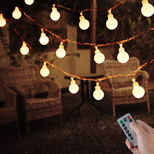 50 LED Globe String Light,USB Fairy Lights,IP67 Waterproof,8 Modes,Ball Fairy Lights with Remote & Timer for Outdoor,Party,Gazebo,Christmas,Wedding,Bedroom Decoration(Warm White)