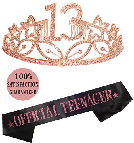 13th Birthday Gifts for Girl, 13th Birthday Tiara and Sash, Happy 13th...