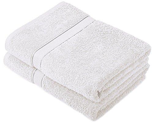 Buoqua - Set di 2 asciugamani da bagno, in cotone, 600 g/mq, colore: Bianco
