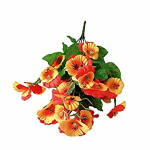 Silk Flower Arrangements Mynse 5 Pieces Silk Begonia Flowers for Home Offcie Wedding Decoration Artificial Begonia Flower Bouquet Orange