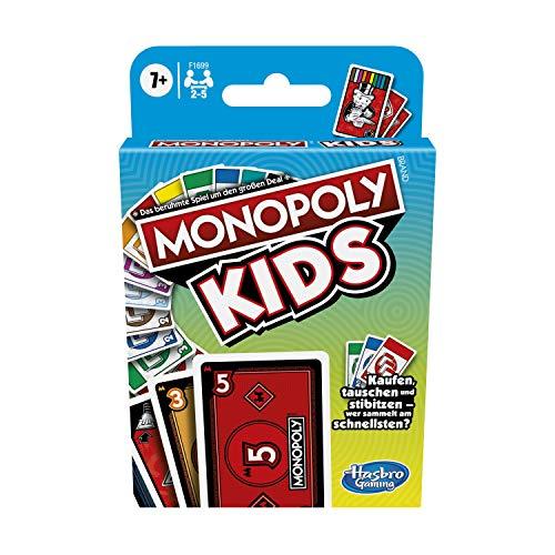 Monopoly Kids, schnelles Kartenspiel für 4 Spieler, Spiel für Familien und Kinder ab 7 Jahren