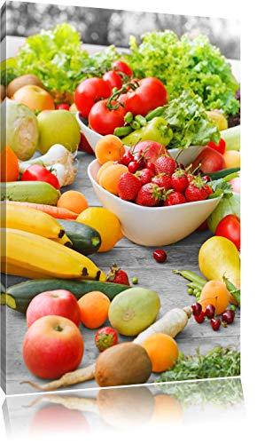 Pixxprint Buntes Obst und Gemüse als Leinwandbild | Größe: 60x40 cm | Wandbild| Kunstdruck | fertig bespannt